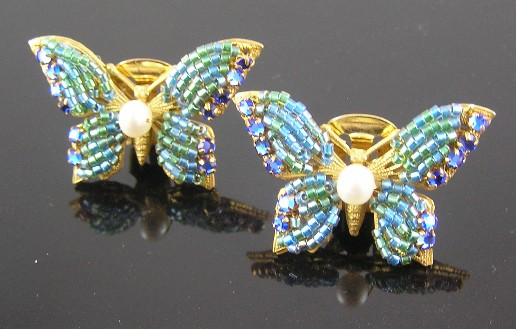 Miriam Haskell Blue Green Butterfly Clip Earrings