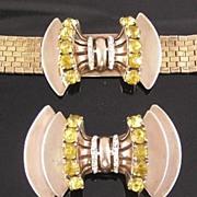 Sceptron Sterling Vermeil Bow Bracelet & Brooch