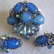 Coro Blue Foil Art Glass & Aurora Borealis Brooch & Earrings-Beautiful!
