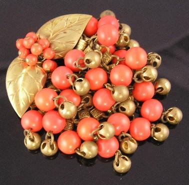 Unsigned Miriam Haskell Leaves & Beads Brooch – Book Piece