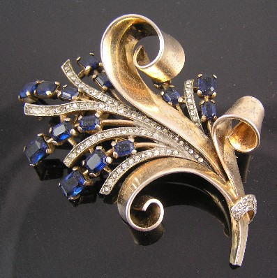 Crown Trifari Sterling Silver Faux Sapphire Bouquet Fur Clip Brooch