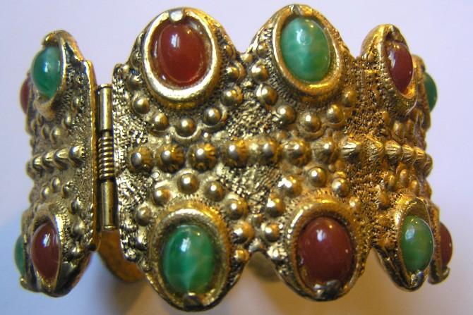 Chunky Byzantine Style Honey & Mottled Green Cabochon Hinged Cuff Bracelet