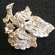 Petite Rhinestone Leaf on Branch Rhodium-Plated Brooch