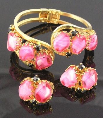 D&E Pink Givre & Black RS Clamper Bracelet & Earrings