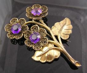 Pretty Purple Rhinestone Circa 1940's Flower Fur Clip