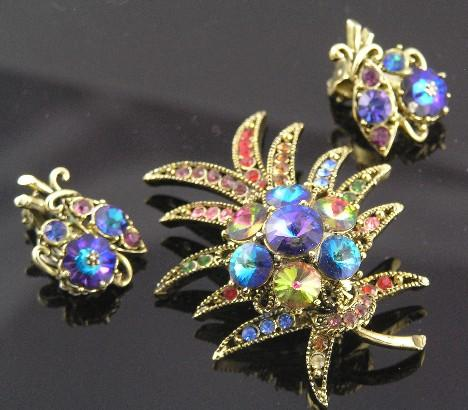 Luscious Weiss Rivoli Rhinestone Harlequin Brooch & Earrings