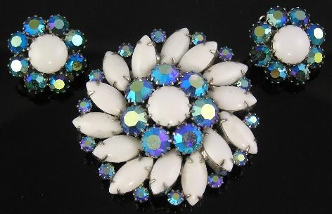 Weiss Teal AB & Milk Glass RS Flower Brooch & Earrings