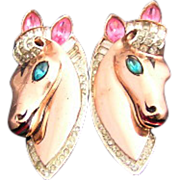 Sterling Vermeil 1943 Adolph Katz Patent Coro Craft Pink, Aqua, and Clear Rhinestone & Enamel Horse Duette