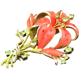 Salmon Enamel and Rhinestone Trembler 1970's Tiger Lily Brooch Book Piece