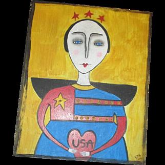 Patriotic Angel primitive painting