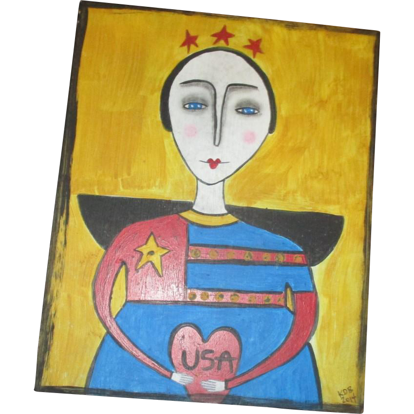 Patriotic Angel primitive painting