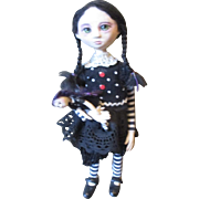 Great sculpted Wednesday Addams OOAK goth