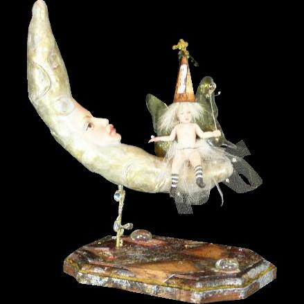 Enchanting Fairy on Moon sculptured doll OOAK