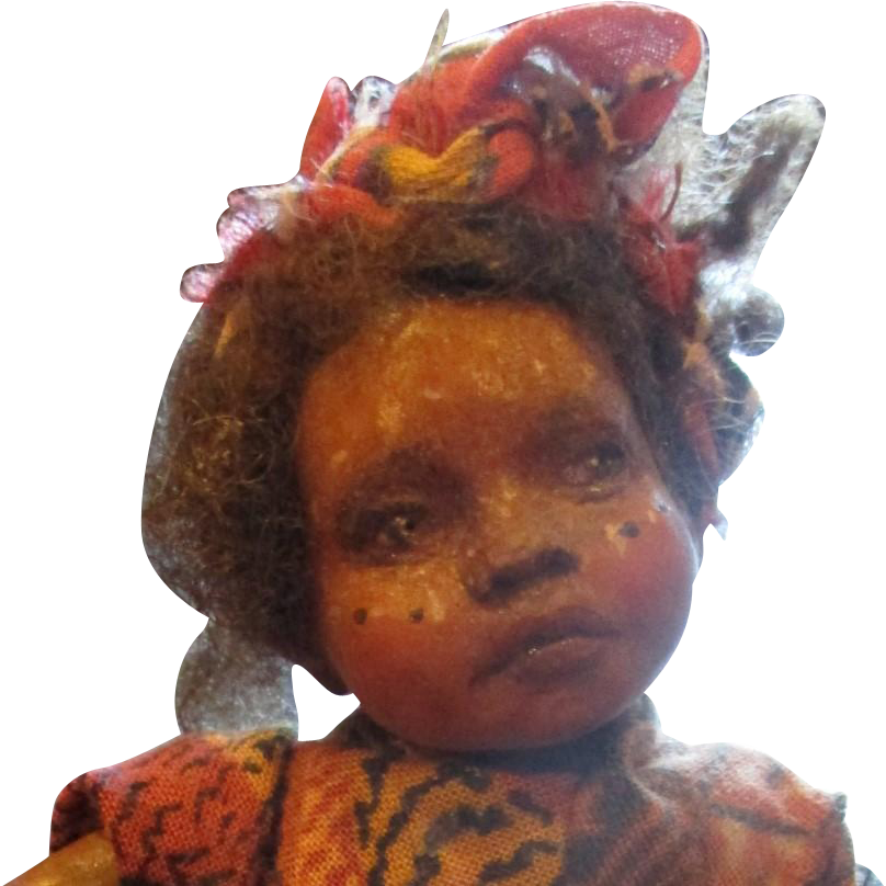 Doll black African baby with tribal painting OOAK original