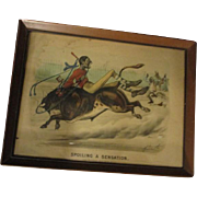 Currier & Ives  Black man riding Bull picture