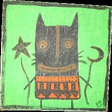Primitive folk art halloween painting