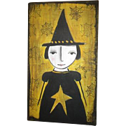 Primitive folk art Witch painting