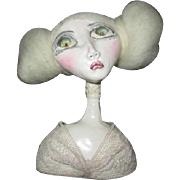 Doll bust sculpted by Black eyed Susan OOAK