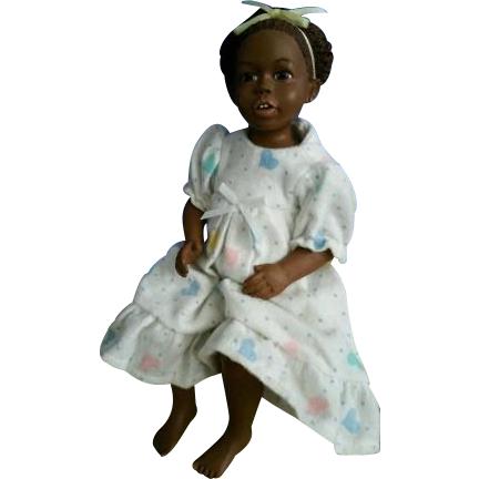 "Adorable 9"" black bisque doll"