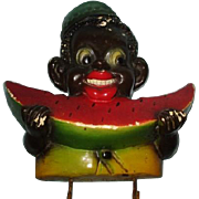 Black  child potholder with watermelon