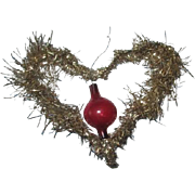 Antique blown glass inside tinsel heart ornament