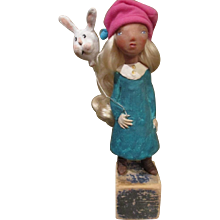 Sculpted doll and her bunny original by Jude kapron