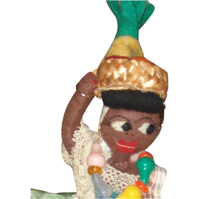 Black folk art topsy turvy doll