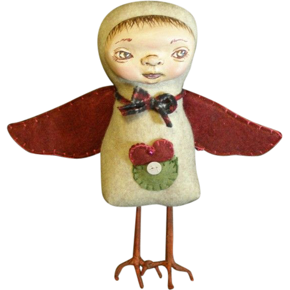 Primitive Folk art Bird/ One of a kind