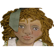 Black Folk Art cloth doll~ Adorable! One of a kind.