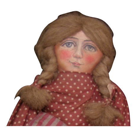 Wonderful Primitive Folk Art cloth doll one of a kind