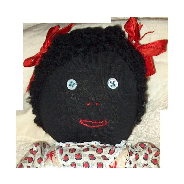 Vintage Black stockinette hand made doll