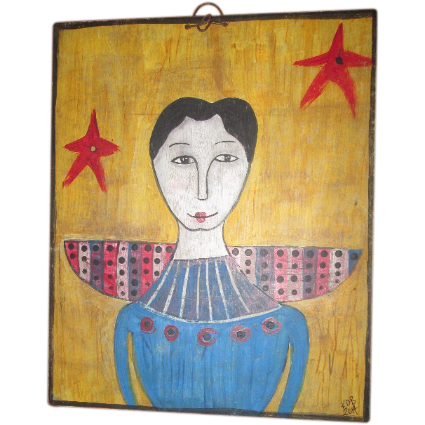 Folk Art primitive Angel painting