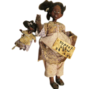 Adorable primitive Black doll with her puppet OOAK sculpt