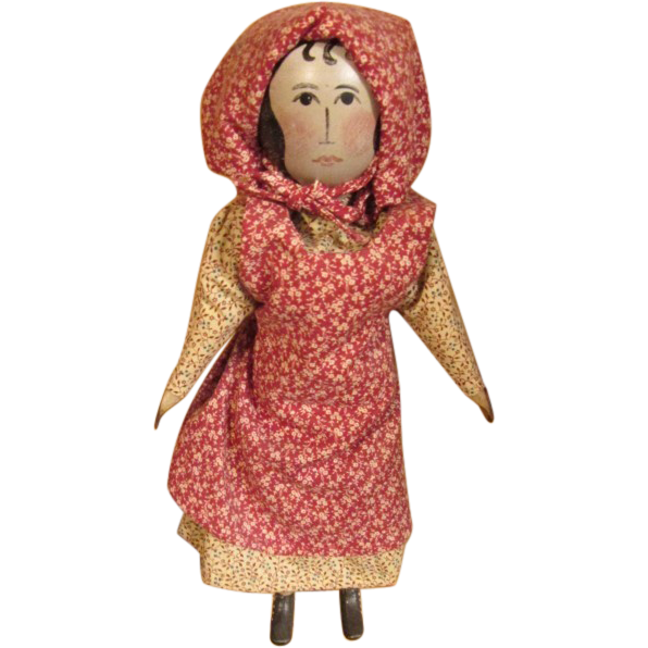Vintage charming wooden primitive  doll