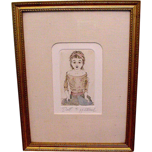Wonderful  original etching of Antique bisque doll