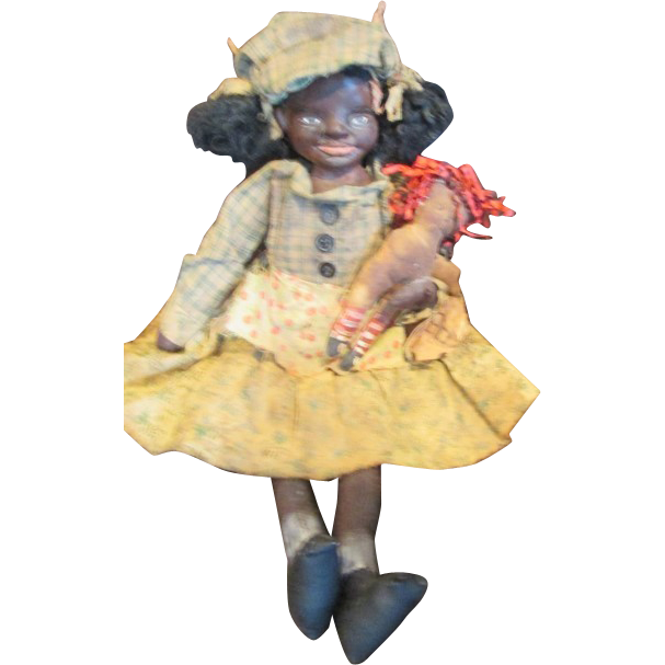 Primitive sculpted cloth Black doll OOAK