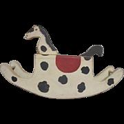 Primitive vintage Folk art rocking horse for your doll or Teddy