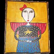 Primitive folk art Angel painting