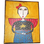 Primitive folk art Angel painting