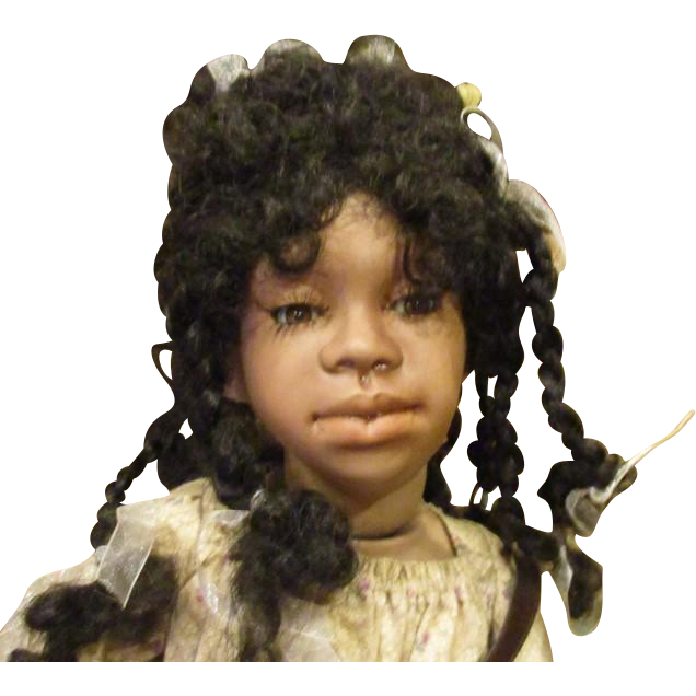 "Charming Black doll 24"" all bisque by Judy Kapron"