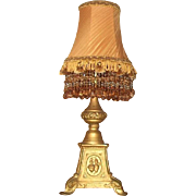 Antique Cast iron lamp with beautiful beaded shade