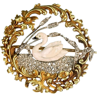 Flowery diamond 18k yellow gold swan brooch - France, ca.1890