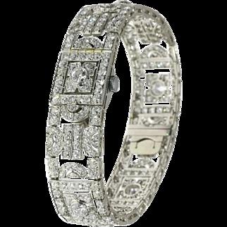 French Diamond Bracelet Watch ca.1950