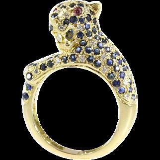 Vintage Panther Gemstones Ring ca.1960
