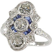 Art Deco Sapphire and Diamond Engagement Ring ca.1920