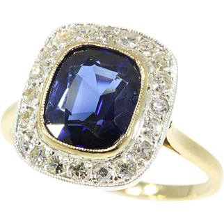 Sapphire and Diamond Gold Engagement Ring ca.1920