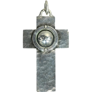 French Designer Silver Cross ca.1950