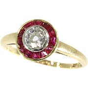Art Deco Ruby and diamond Ring ca.1920