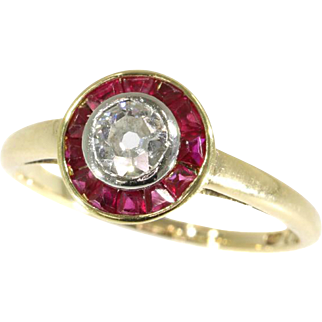 Art Deco Ruby and diamond Ring ca.1920