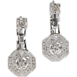 Art Deco Diamond and Gold Drop Earrings ca.1920